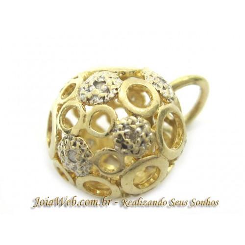 E9014-10382 Pingente Esfera de Ouro Dois Tons Diamantes