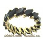 A8980-72616 Especial Aliança Inteira de Ouro com Onix Navete 5x7mm