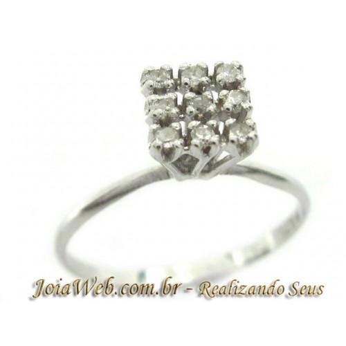 A8980-72665 Moderno Chuveiro Quadrado Ouro Branco com Diamantes