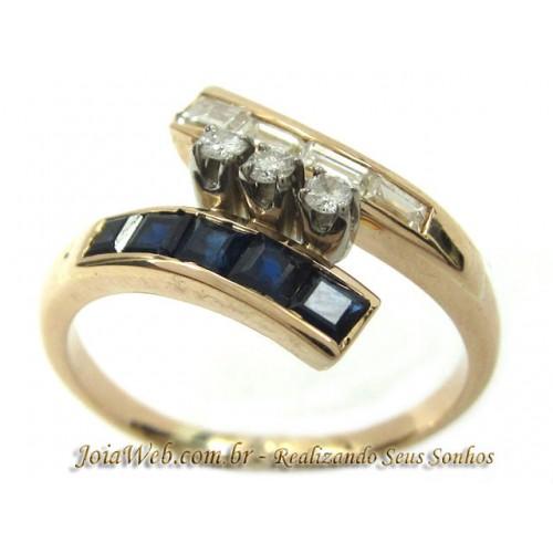 A8990-72368  Anel Curvado Ouro Rose Diamantes Baguete Safiras