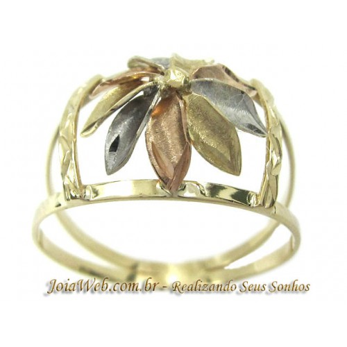 A8990-72436 Anel de Ouro Vazado Florido Três Tonalidades