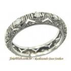 A8990-72459 Lindísima Aliança Inteira Trabalhada Vazada Diamantes Antiga