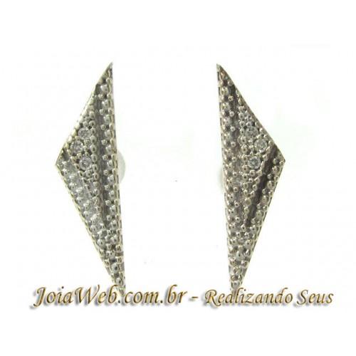 B8980-31156 Brinco Pontilhado de Ouro Branco com Diamantes tx Acrilico