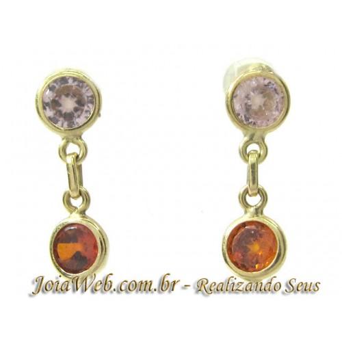 B8980-31166 Brinco de Ouro Elos com Pedras Coloridas Charmoso