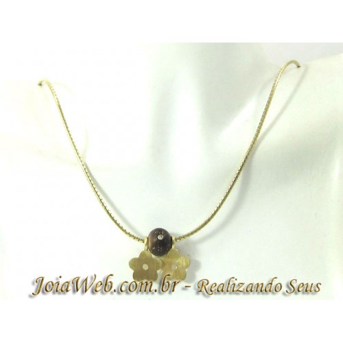 C8980-00423 Colar Tipo Rabo de Rato e Flores Esfera Ouro com Diamante