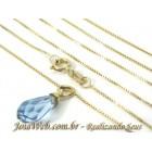 C8980-00425 Colar de Ouro Elos Venezianos com Briolet pedra Azul